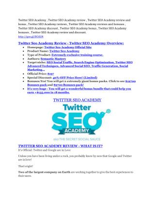 Twitter SEO Academy review and (MEGA) bonuses – Twitter SEO Academy