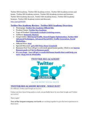 Twitter SEO Academy review and (MEGA) bonuses – Twitter SEO Academy