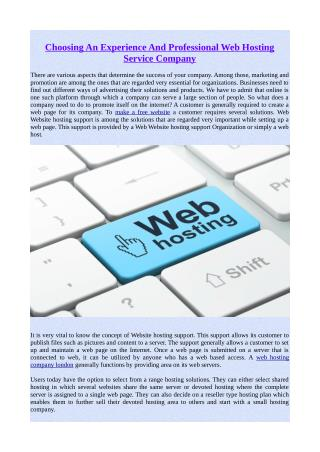 Choosing An Experience And Professional Web Hosting Service Company