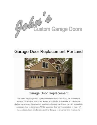 Garage Door Replacement Portland