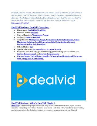 DealVid review and DealVid $11800 Bonus & Discount