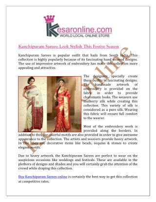 Kanchipuram Sarees Look Stylish this Festive Season