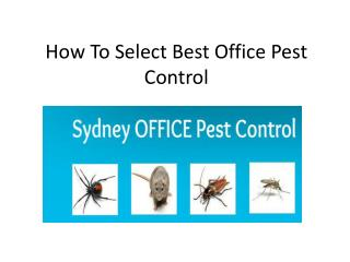 how to select best office pest control