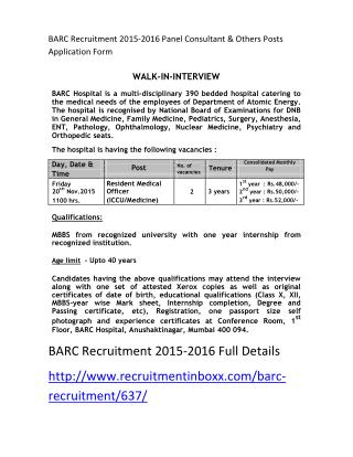 BARC Recruitment 2015-2016 Panel Consultant & Others Posts Application Form