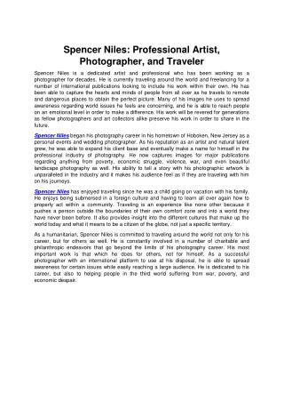 Spencer Niles: Professional Artist, Photographer, and Traveler