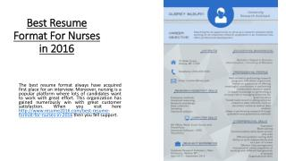 Best Resume Format For Nurses in 2016