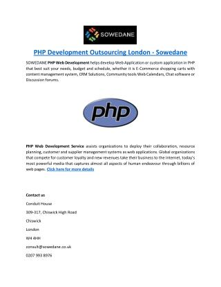 PHP Development Outsourcing London - Sowedane