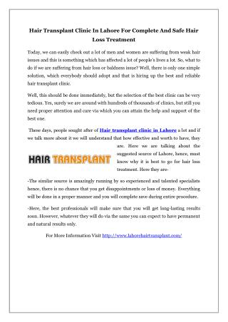 Hair Transplant Clinic In Lahore For Complete And Safe Hair Loss Treatment