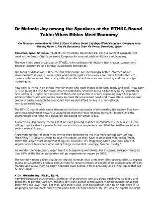 Dr Melanie Joy among the Speakers at the ETHIIC Round Table: When Ethics Meet Economy