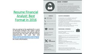 Resume Financial Analyst: Best Format in 2016