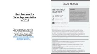 Best Resume For Sales Representative in 2016