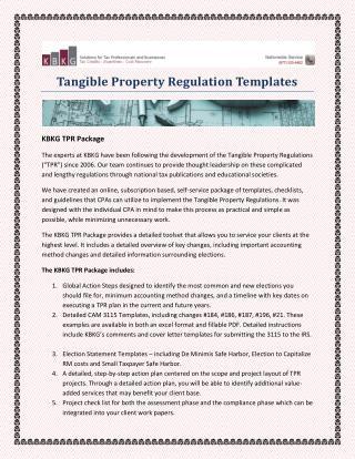 Tangible Property Regulation Templates