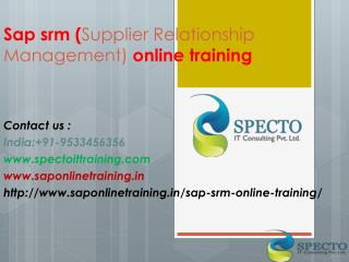 Sap Srm ( Supplier Relationship Management) Online Training