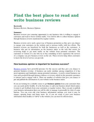 Find the best place to read and write business reviews