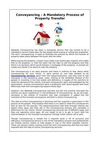 Conveyancing – A Mandatory Process of PropertyTransfer