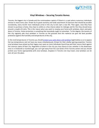 Pioneer Windows Inc. Securing Toronto Homes by Vinyl Windows
