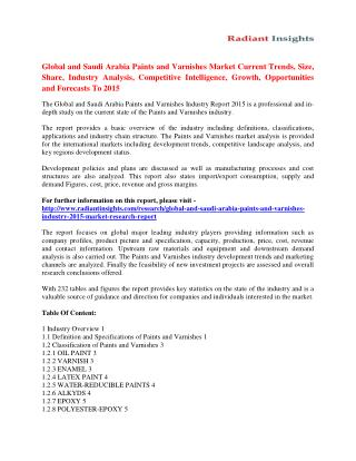 Paints and Varnishes Market Drivers, Trends & Growth Analysis To 2015