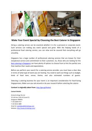 Make Your Event Special by Choosing the Best Caterer in Singapore