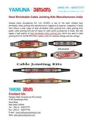 Heat Shrinkable Cable Jointing Kits Manufacturers India