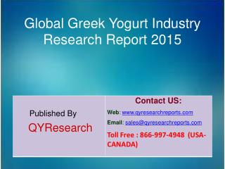 Global Greek Yogurt Market 2015 Industry Growth, Trends, Outlook, Analysis, Research and Development