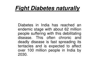 Fight Diabetes Naturally�