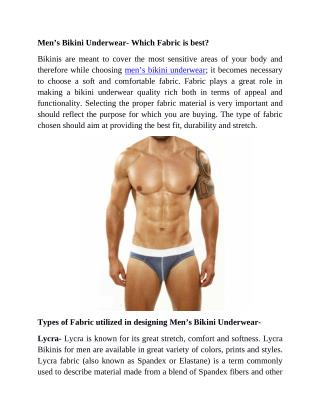Men's Bikini Underwear- Which Fabric Is Best?