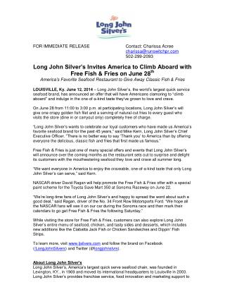Long John Silver�s Invites America to Climb Aboard with Free Fish & Fries on June 28 th