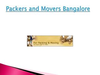 Local Packers and Movers Bangalore