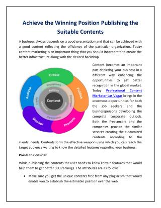 Achieve the Winning Position Publishing the Suitable Contents