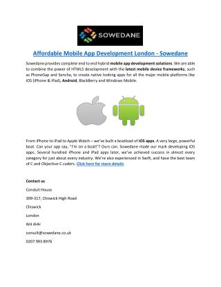 Affordable Mobile App Development London - Sowedane
