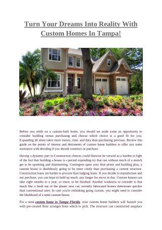 Custom Homes Tampa- Javichomes