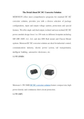The Detail About DC DC Converter Solution