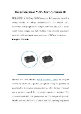 The introduction of AC/DC Converter Design (1)