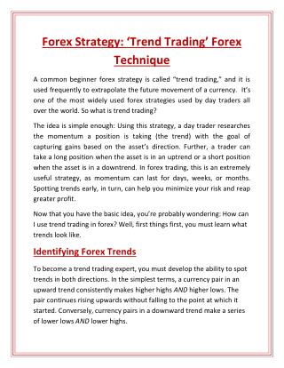 Forex Strategy: Trend Trading Forex Technique