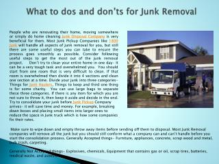 What to dos and don'ts for Junk Removal