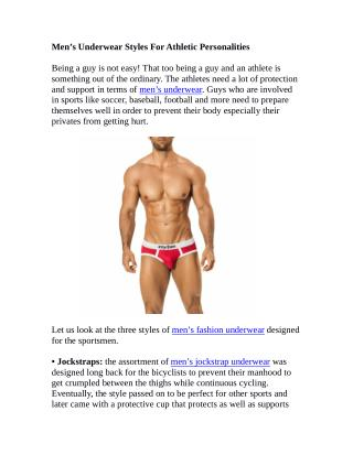 Men's Underwear Styles For Athletic Personalities