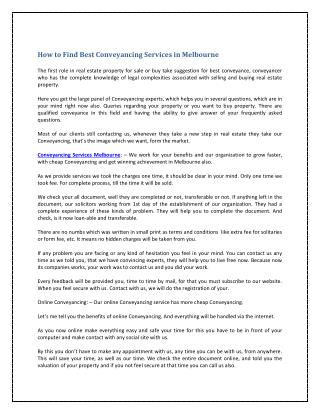 How to Find Best Conveyancing Services in Melbourne