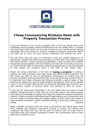 Cheap Conveyancing Brisbane Deals with Property Transaction Process