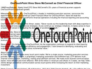 OneTouchPoint Hires Steve McConnell as Chief Financial Officer