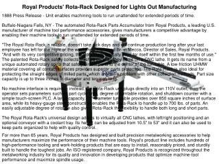 Royal Products' Rota-Rack Designed for Lights Out Manufacturing