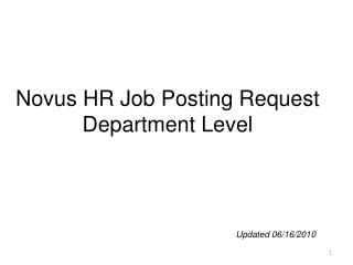 Novus HR Job Posting Request Department Level