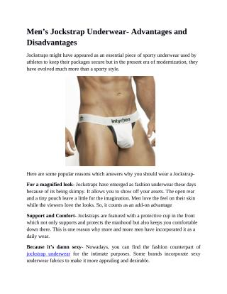 Men's Jockstrap Underwear- Advantages and Disadvantages