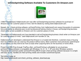 ezCheckprinting Software Available To Customers On Amazon.com