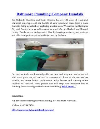 Baltimore Plumbing Company Dundalk