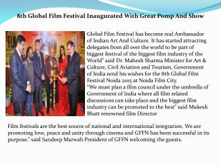 8th Global Film Festival Inaugurated With Great Pomp And Show