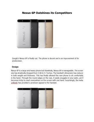 Nexus 6P Outshines its Competitors