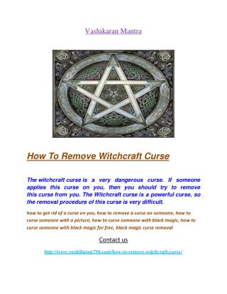 How To Remove Witchcraft Curse
