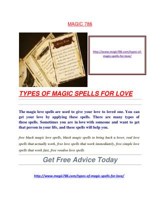 TYPES OF MAGIC SPELLS FOR LOVE