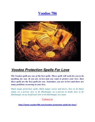 Voodoo Protection Spells For Love