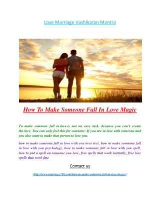 How To Make Someone Fall In Love Magic